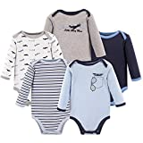 Luvable Friends Unisex Baby Cotton Long-Sleeve Bodysuits, Airplane, 3-6 Months