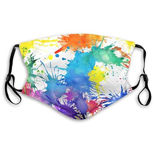 Waschbarer Mundschutz Anti-Staub-Gesichtsschutz,Aquarell gemalte Flecken Hand zeichnen mehrfarbige Spritzer Illustration,Wiederverwendbar winddicht für Outdoor-Ski Radfahren Camping Laufen