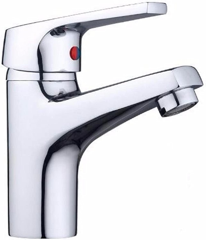AQMMi Waschtischarmatur Wasserhahn Messing Chrom Einloch Warmes Und Kaltes Wasser Ventil Mischbatterie Waschtisch Armatur Für Bad