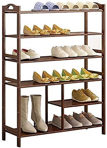 QZMX Estante de Zapatos Bastidores del Zapato 6 Nivel de bambú con Zapatero Zapato Estante, for la Sala de Estar, Dormitorio o Pasillo Estante