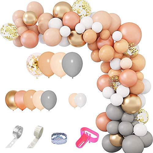 Fltaheroo 129pcs globo guirnalda arco kit confeti oro beige globos para baby shower cumpleaños boda fiesta decoración suministros