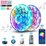 WiFi LED Strip Lights 65.6FT, Music Sync LED Light Strip Compatible with Alexa,Google Home Controlled by Smart APP, LED Lights 20m 600LEDs RGB Power Strip with UL Listed Adapter Remote Controller