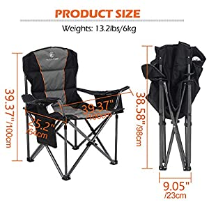 ALPHA CAMP Oversized Camping Chair Heavy Duty 200 KG Weight Capacity