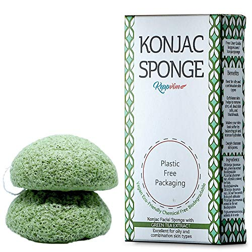 Konjac Sponge Set (2 Pieces), Exfoliating Face Sponge, Facial Cleanser for Oily and Blemished Skin, Biodegradable, 100% Natural and Vegan, Organic, Plastic-Free (Green Tea)