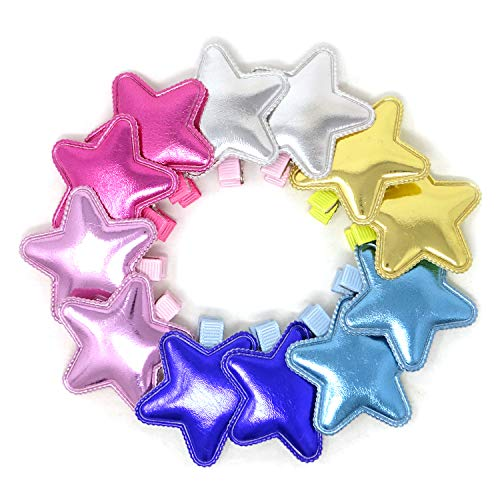 Honbay 12PCS Shiny PU Leather Star Hair Clips Adorable Hairpins Hair Accessories