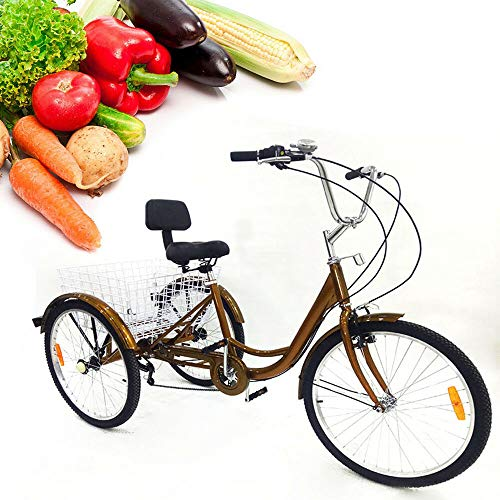Triciclo WUPYI2018 de 24 pulgadas para adultos, triciclo de 3 ruedas para adultos con cesta de compras de 6 velocidades Bicicletas Adulto Compras Triciclo para Compras al aire libre Picnic Deportes