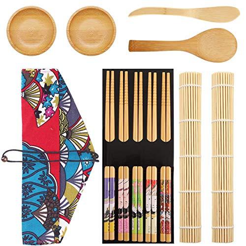 Kit Sushi 12 Piezas Herramienta para Hacer Sushi de Bambú Kit para Hacer Sushi de Bambú Con 2Esterilla Sushi,5pares de Palillos,Pala de arroz,Separador de arroz,Bolsa de almacenamiento,Plato de salsa