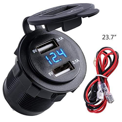 Nosii 4.2A Dual USB 2.1A & 2.1A oplaadapparaat socket waterdicht stopcontact W/LED voltmeter & draad inline 10A zekering voor 12-24 V auto boot marine motorfiets