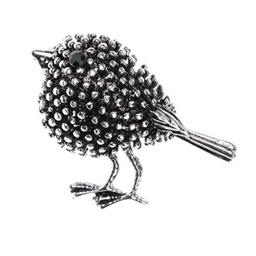 milageto Vintage Blume/Vögel/Flamingo/Insekt/Erbse Stil Strass Brosche Pin - Alte Silberne Vogel-Diamant-Brosche