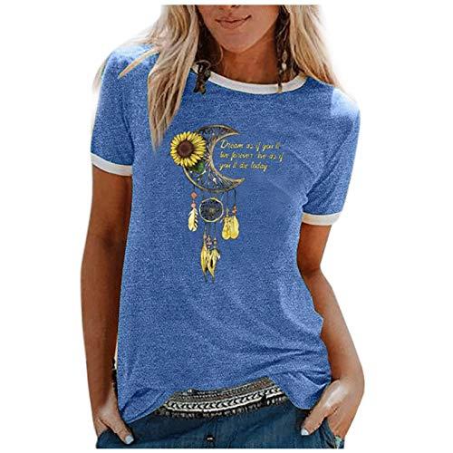 YANFANG Camiseta De Manga Corta Suelta con Cuello Redondo Y Estampado Informal A La Moda para Mujer, Blusa Superior, Jersey Camisetas Mujer Raya Blusas Tops Fiesta,5-Azul,M