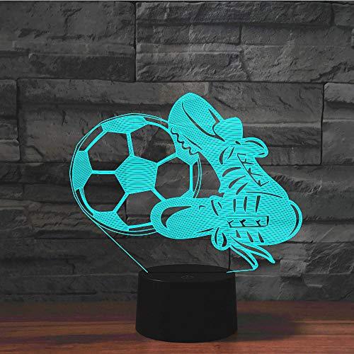 Leichte optische Täuschung Nacht 3D LED Fußball und Schuhe geeignet für Schlafzimmer Kinder Freunde Geburtstag Valentinstag Geschenke mit USB-Aufladung-USB-Batterie Dual-Use