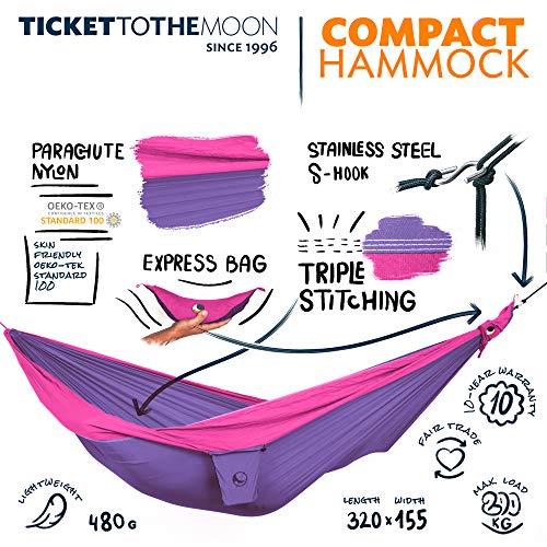 Ticket to the Moon Fair Trade & Handmade Single/Compact- Lightweight-Hammock Purple-Pink for Travelling, Camping, L 3.2 * 1.55m, 480g, Parachute Silk Nylon, Set-Up  1 min, OEKO-TEX