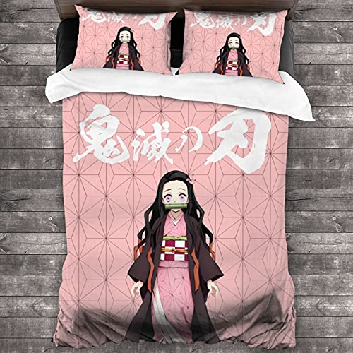 Anime Bedding Sets Twin Duvet Cover 3 Piece Cute Bed Set for Boys Girls Kid with 1 Duvet Cover + 2 Pillowcase,Bed Sheets