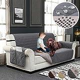 YISUN Housse de Canapé Matelassée Etanche Protège Couverture de Sofa en Polyester Coton pour Chien Chat(3 Places,Gris)