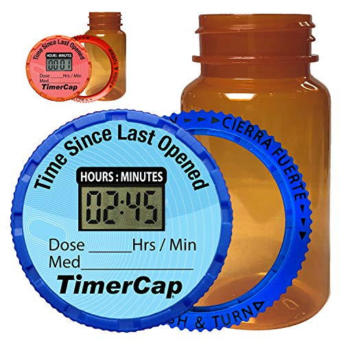 TimerCap Automatically Displays Time Since Last Opened - Built-in Stopwatch Smart Pill Bottle Cap Medication Reminder Case (2 Pack - Large 4 oz Amber Bottles) EZ -Twist/CRC