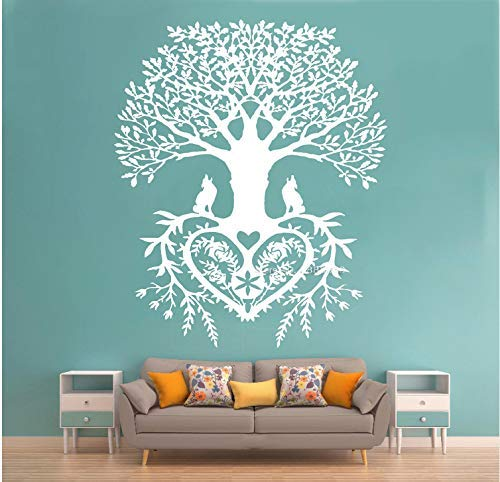 Tree Of Life Wall Stickers Decal Tribal Circle Of Life Roots Branches Birds Living Room Yoga Studio Decor Home Decoration 56X67Cm