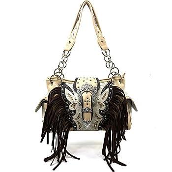 Justin West Concealed Carry Western Rhinestone Buckle Fringe Tooled Chain Shoulder Handbag  Beige