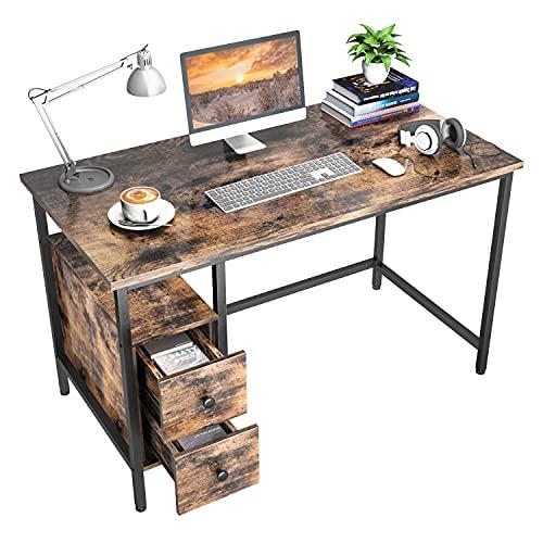 GIKPAL Escritorio de Computadora, Mesa de Ordenador Escritorio Estructura de Acero con Cajón, Mesa de Estudio Portátil Grande para Oficina en Casa (Retro)