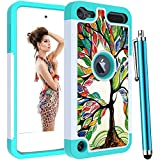 Voanice foriPod 6 Case,iPod 7 Case,iPod Touch 5 Case,Hard PC& TPU Shockproof Heavy Duty Women Girls Kids Hybird Protective Armor Cover Dual Layer for iPod Touch 7th /6th/ 5th Generation-Colorful Tree