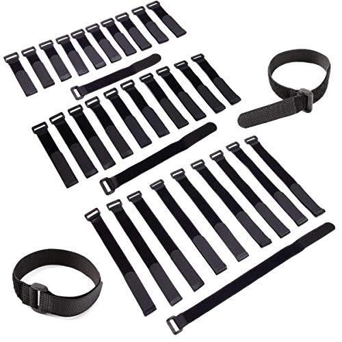 Anladia Sujetacables eléctricos 50 pcs sujetacables Velcro para Cables de Escritorio/Ordenador/Almacenamiento/televisor Juego...
