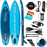10'8 Double Layer Premium iSUP Inflatable Stand up Paddle Board & Kayak Seat & Carbon Fibre/Fibre Glass 4-Shaft Paddle with Kayak Option, Dual-Action Pump & Top Accessories (Blitz Blue 10'8FT)