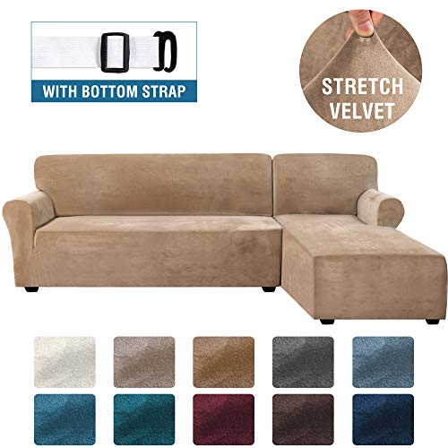 Rich Velvet Stretch 2 Pieces L-Shaped Sofa Covers Anti-Slip Sectional Sofa Slipcovers with Straps Bottom Luxury Thick Velvet Corner Sofa Cover(Large Size=Right Chaise with 2 Seater, Camel)