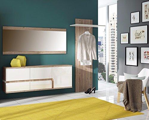 Wohnwand Schrankwand Wohnzimmer Möbel MILANO II Eiche Nelson / Weiss Hochglanz (TV Board Wandregal Spiegel)