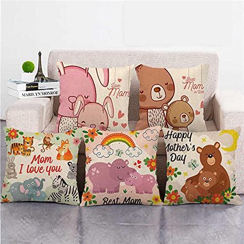 Lyotreiocvniszx Fundas de almohada de lino y algodón, 45 cm x 45 cm, diseño de animales con texto en inglés 'I Love Mom'