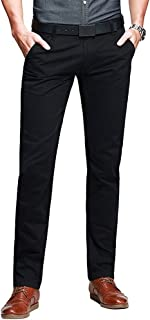 Phorecys Men's Tapered Flat Front Casual Pants
