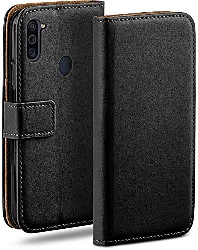 moex Klapphülle für Samsung Galaxy M11 Hülle klappbar, Handyhülle mit Kartenfach, 360 Grad Schutzhülle zum klappen, Flip Hülle Book Cover, Vegan Leder Handytasche, Schwarz