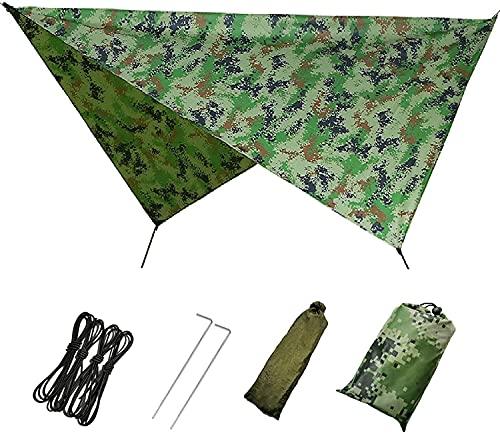 JAJ Hamaca lona impermeable para tienda de campaña, 118 x 118 pulgadas, protección UV y PU 1500 mm, impermeable, ligera para camping, mochileros y aventuras al aire libre, 230 x 140 cm