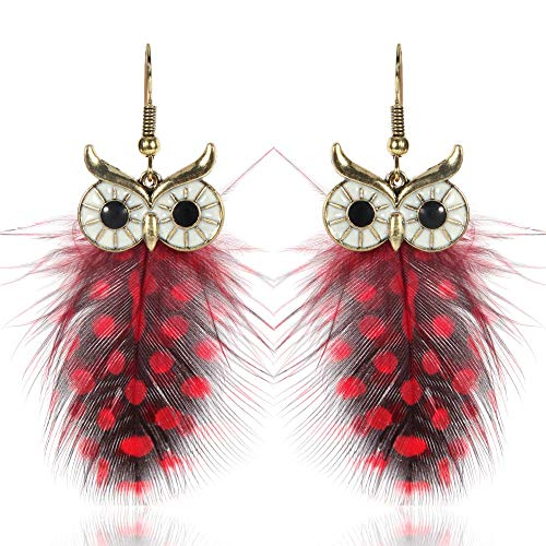 Pendientes De Moda Para Mujer, Elegantes Pendientes Colgantes De Plumas De Búho Con Personalidad, Modelado De Animales, Joyería Ligera Para Orejas, Rojo
