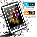 meritcase Waterproof Case for iPad 9.7(2017/2018/Air), IP68 Full Protection Rugged Heavy Duty Shockproof Snowproof Dustproof Cover with Table Stand for Apple iPad 5th/6th Gen/iPad Air-Black