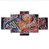 PrintWUHUA Cuadros para Dormitorios Modernos Islámico Corán Versos Pintura Cotizaciones Islámicas Cartel Cuadros De Salon 5 Partes (W) 100CMX(H) 55CM