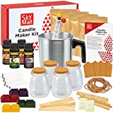 SkyMall Candle Making Kit, DIY Set for Making Candles, Includes Melting Pot, 4 Glass Jars, [4] 5oz Soy Wax Bags, 4 Color Dye Blocks, 4 Fragrance Oils, Wicks, Thermometer, Tags, Bonus Holiday Stickers
