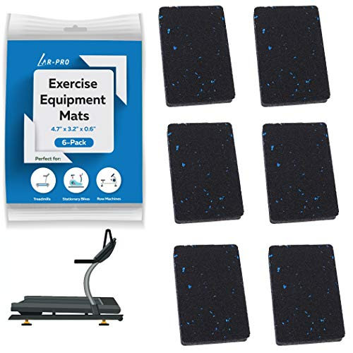 """(6 Pack) AR-PRO Exercise Equipment Mats - 4.7"""" x 3.2"""" x 0.6"""" Anti-Slip, Shock Absorbent Rubber Floor Protective Mats Perfect for Treadmills, Elliptical Trainers, Rowing Machines, and Stationary Bikes"""