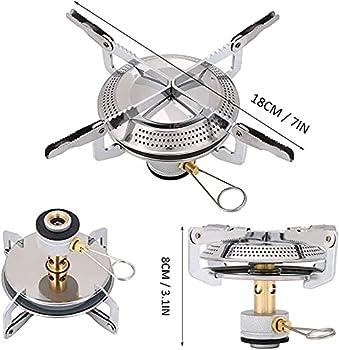 Viilich Réchaud à gaz portable de camping, mini réchaud à gaz, brûleur à gaz pliable en titane pour camping, pique-nique, barbecue, cafetière (argent)
