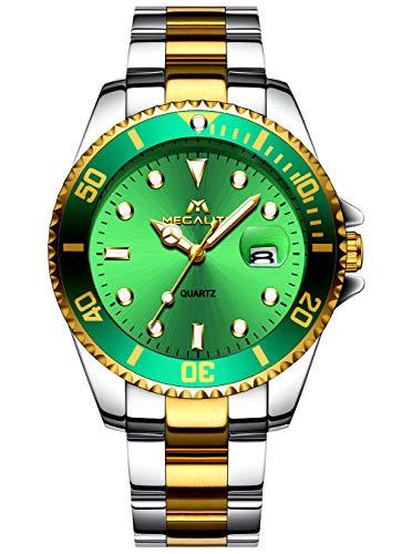 Herren Uhr Männer Chronographen Sport Militär Edelstahl Wasserdicht Armbanduhren Outdoor Analoge Quarzwerk Uhr für Männer Herren mit Schwarzem Zifferblatt (4 Grün)