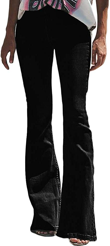 iYYVV Women High Waist Stretch Slim Jeans Button Pocket Trousers Bell-Bottom Pants