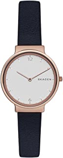 Skagen Women's Ancher Quartz Stainless Steel and Leather Casual Watch, Color: Rose Gold-Tone, Blue (Model: SKW2608)