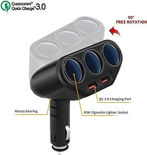 3 Socket Cigarette Lighter Splitter, Rocketek 2-Port USB Quick Charge 3.0 Car Charger 120W 12V/24V Car Power DC Outlet Adapter Cigarette Lighter Adapter for CellPhone/GPS/DashCam etc