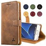 Snakehive® Vintage Collection Samsung Galaxy S7 Vintage-Brieftaschen-Etui aus Nubukleder mit Kreditkarten-/ Banknotenfach (Kastanie Braun)