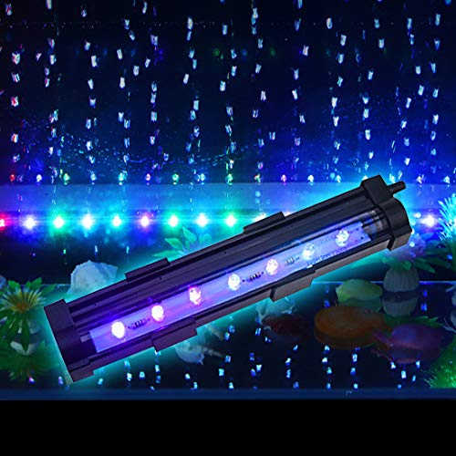 PULACO 1 Watt Aquarium Fish Tank Air Stone with Automatic Color Changing LED Light for Small Fish Tank Air Pump