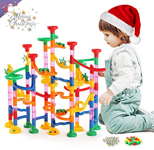 Kuopry Marble Run for Kids - 163 Pieces Construction Building Blocks Toy Set, Marbles Race Track for Kid, Maze Games, Educational STEM Toys for Girls Boys(30Pcs Glass Marbles for Free)