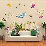 Wallpark Sous l'eau Monde Coffre au trésor Dessin animé Requin Méduses Poisson Amovible Stickers Muraux Autocollants, Enfants...