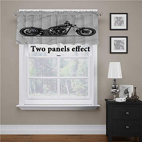 shirlyhome Manly Window Curtain Valance Custom Motorcycle for Small/Kitchen/Bathroom Window, 54 Inch by 12 Inch 1 Panel