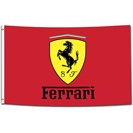 ENMOON Flag for Ferrari Fans for Garage Man Cave (3x5ft, Vivid Color) HD Printing 150D Poly Two Brass Grommets
