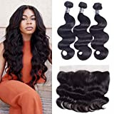 Amella Hair 10A Brazilian Body Wave Frontal(16' 18' 20'+14'13x4 Frontal) 3 Bundles with Frontal Ear to Ear Lace Frontal Closure Free Part with Bundles Brazilian Body Wave Frontal Natural Black Color