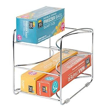 mDesign Kitchen Organizer Rack for Aluminum Foil, Sandwich Bags, Plastic Wrap - 3 Shelves, Chrome