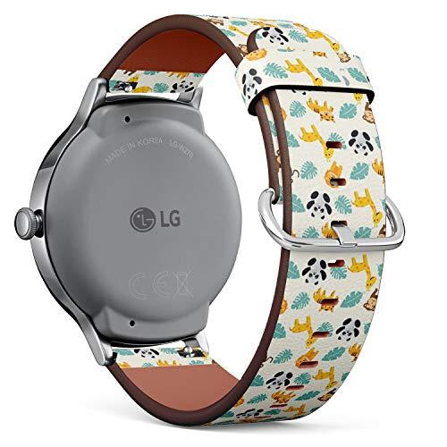 Compatible con LG Watch Style – Reloj de Pulsera de Piel con pasadores de liberación rápida (Fun Summer Animal Zoo)